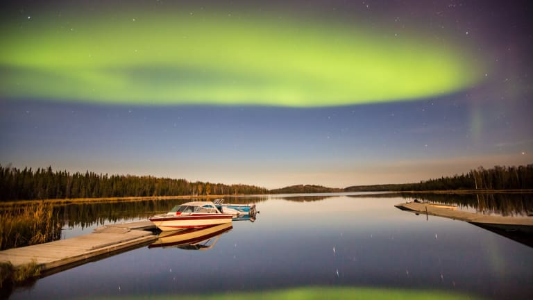 The Aurora Borealis, Or Northern Lights, Is A Common Sight In Yellowknife,  Especially