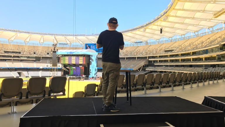 Ed Sheeran checking out the new Optus Stadium.