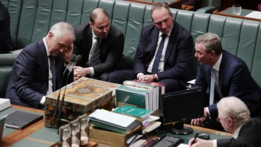 Deputy Prime Minister Barnaby Joyce with Prime Minister Malcolm Turnbull, Josh Frydenberg and leader of the House Christopher Pyne during question time on Monday.