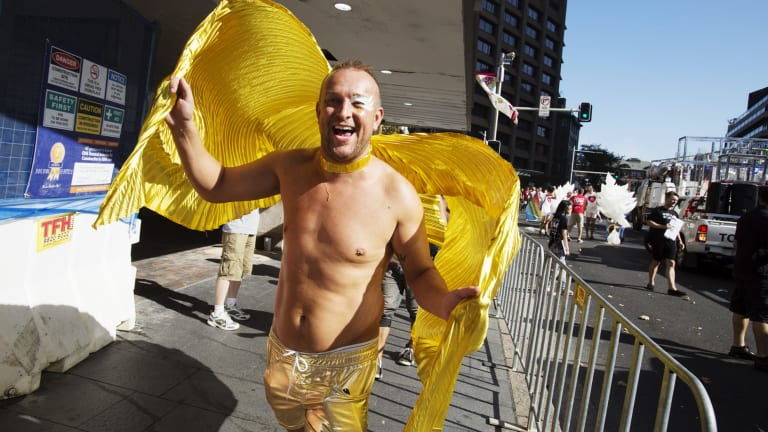 Gay rights celebration: Mardi Gras participants get ready for the big parade.