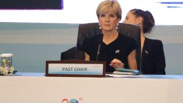 Foreign Minister Julie Bishop at a session of the Indian Ocean Rim Association  in Jakarta.
