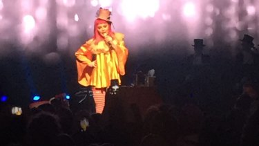 Madonna on stage at Melbourne's Forum for her one-off Tears of a Clown show.