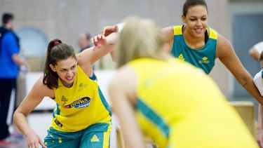 Marianna Tolo and Liz Cambage prepare for the Rio Olympic Games.