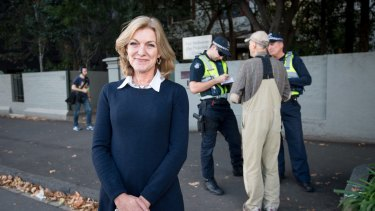 MP Fiona Patten was integral to the introduction of the safe access zone laws in Victoria. She's pictured here on the day they came into effect on May 2 last year.