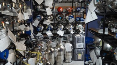 Stocking 40 years of gas samples from Cape Grim, at CSIRO's Aspendale centre.