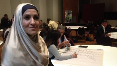 Saara Sabbagh, director of Benevolence Australia, at an anti-bigotry forum hosted by Darebin City Council.