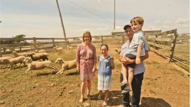 Tim and Olivia Coutts with their children Eliza and Flynn on their property in Malmsbury Victoria.