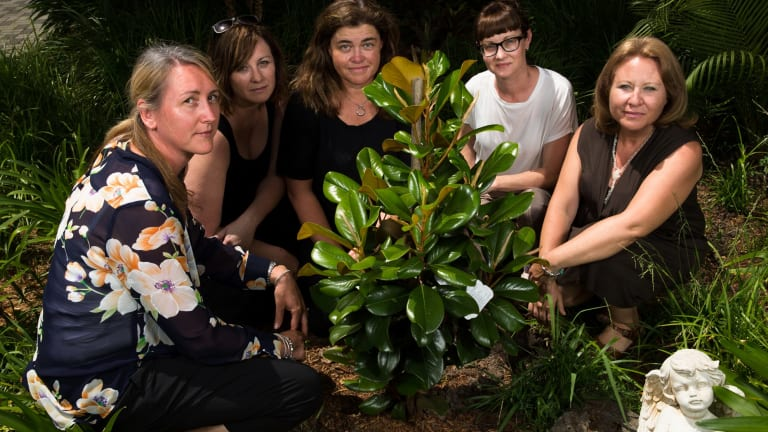 Maria Lutz's friends (from left) Nichole Brimble, Peta Rostirola, Karen Hickmott, Kerrie Dietz and Valeria Buccheri at the magnolia planted by Elisa and Martin's classmates.