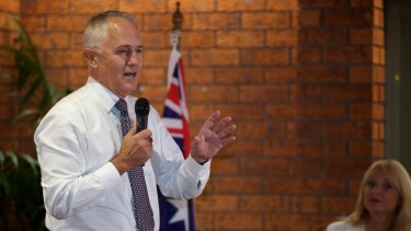 Malcolm Turnbull taking questions at the Dam Hotel in Wyong on Thursday night.