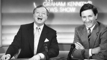 Retiring: Ken Sutcliffe, here with Graham Kennedy in 1988, is ready to start playing a bit of sport rather than watching it.