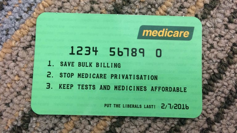 A mock Medicare card distributed by the ACTU.