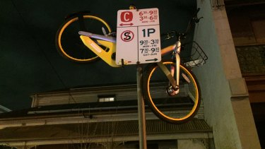 This share bike is unlikely to be a tripping hazard.