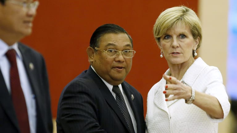 Australian Foreign Minister Julie Bishop greets Myanmar's Foreign Minister Wunna Maung Lwin at the ASEAN talks in Kuala Lumpur on Wednesday.