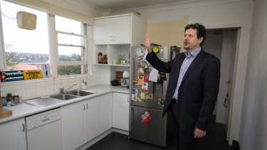 NEWS: Cremorne. Mathias Royce at his cremorne apartment that he is planning to renovate but hasn't started yet as he has only just been given approval. Story: NSW may now be the most expensive state for home renovations, but it is still cheaper than buying a new home. low interest rates and declining property prices mean more homeowners will focus on renovating their properties rather than purchasing new ones. Photo by Edwina Pickles. 9th May 2016.