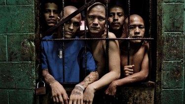 Members of the Barrio 18 gang at the Quezaltepeque prison in El Salvador.