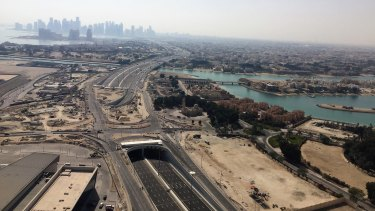 New roads are being built in Doha, Qatar ahead of the 2022 World Cup.