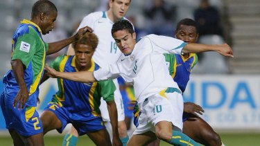 Way back when: Tim Cahill attacks during the OFC Nations Cup against Solomon Islands in 2004.
