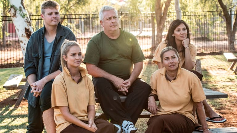 """Tom Ballard, Renae Ayris, """"Dicko"""", Nicki Wendt and Natalie Imbruglia experience life inside a model prison on First Contact."""