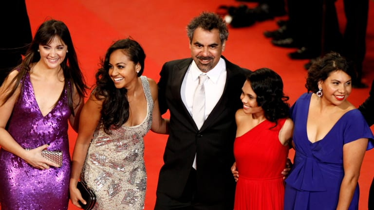 Director Wayne Blair, with left to right, Shari Sebbens, Jessica Mauboy, Miranda Tapsell and Deborah Mailman from <i>The Sapphires.</i>