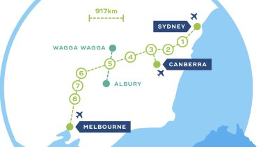Proposed Sydney-Melbourne high-speed rail link.