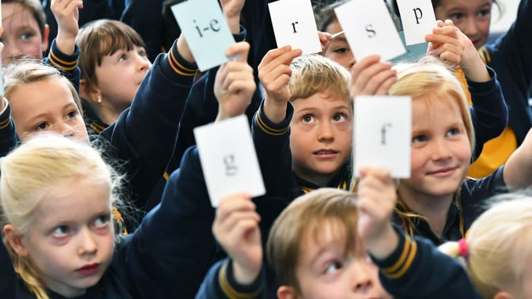 Grade 1 students from Bentleigh West Primary School work on their phonics skills.