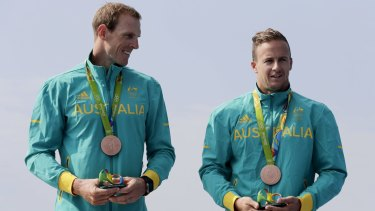 Reward for hard work: Australia's Ken Wallace and Lachlan Tame with their bronze medals.