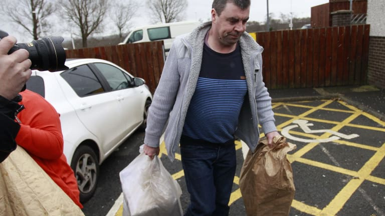 Seamus Daly leaves Maghaberry prison, in Ballinderry, Northern Ireland, on Tuesday, March, 1, 2016.  The Real IRA veteran accused of murdering 29 people in Omagh had all charges against him dropped.