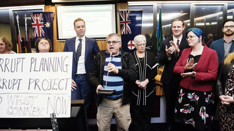 Former mayors and councillors addressed the crowd after the meeting of the newly formed Inner West Council was cancelled.