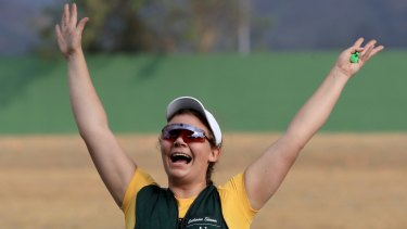Australian shooter Catherine Skinner celebrates after winning the Women's Trap event in Rio on Sunday.