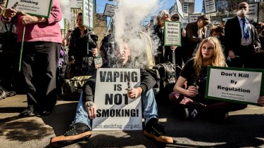 Vapers rally outside Parliament House.