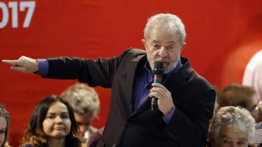 Brazil's former President Luiz Inacio Lula da Silva speaks during the Workers Party congress on Friday.