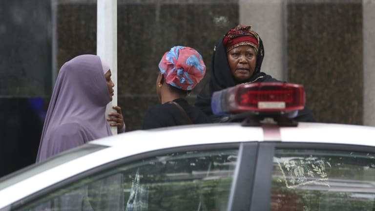 Ibrahim Jalloh's relatives at Guangzhou People's Intermediate Court, in Guangdong on Friday.