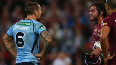 Sledgehammer: Johnathan Thurston gives Mitchell Pearce a form assessment.