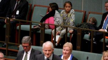 Some of Philip Ruddock's grandchildren watching his valedictory speech.