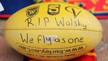 A tribute to the Crows late head coach Phil Walsh at AAMI Stadium.