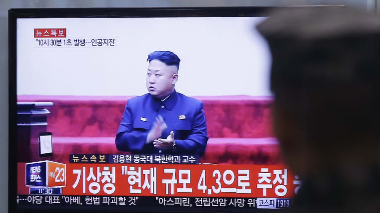 A South Korean army soldier watches a TV screen showing North Korean leader Kim Jong Un, after North Korea said on Wednesday it had conducted a hydrogen bomb test.
