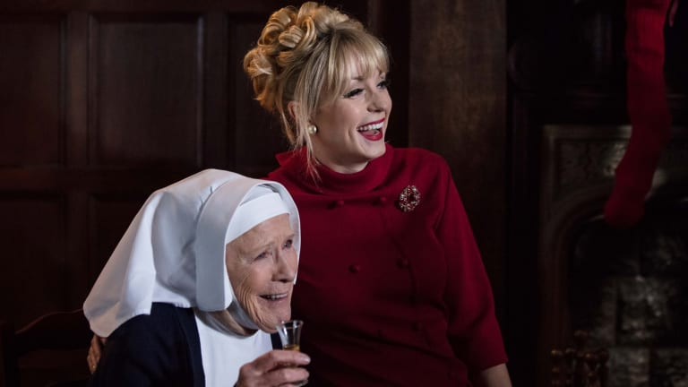Judy Parfitt as Sister Monica Joan and  Helen George as Trixie Franklin in Call the Midwife.