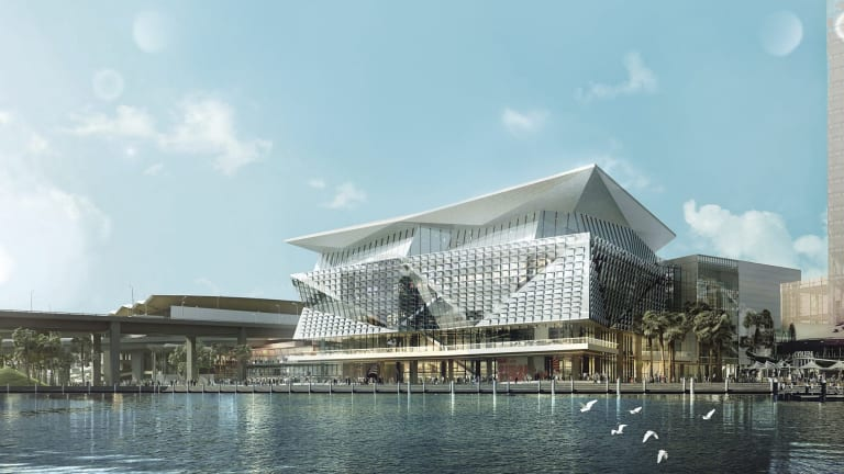 Artist impression of the new convention centre for Darling Harbour, courtesy of Hassell + Populous, as project architects of the International Convention Centre, Sydney.