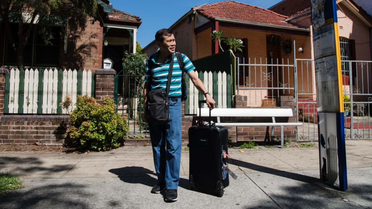 Canadian David waiting for the bus to Sydney Airport at Banksia train station.