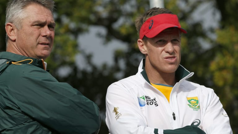 Watching from the sidelines: Jean de Villiers' World Cup was cut short by a broken jaw.