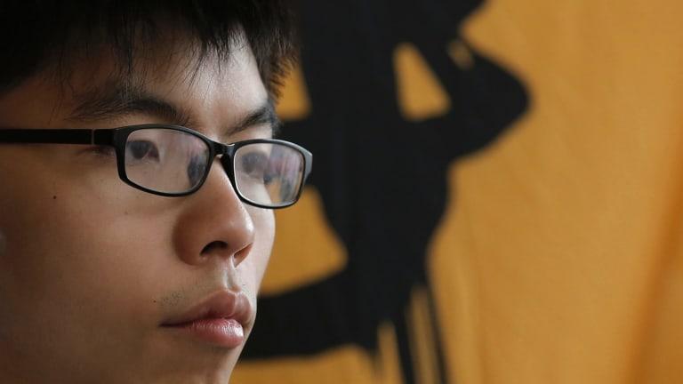 'I am optimistic': Joshua Wong outside a Hong Kong court earlier this year.