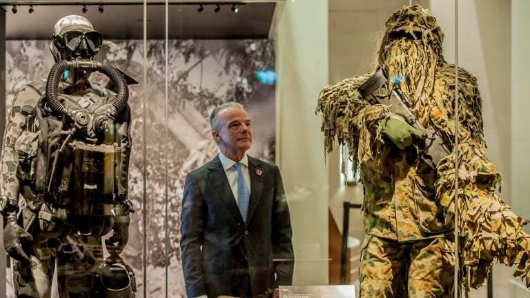 """War Memorial director Brendan Nelson at the launch of the Special Forces exhibition """"From the shadows"""""""