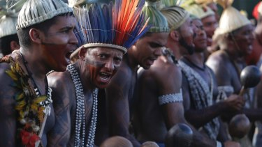 Indigenous people sing and dance during the Indigenous Peoples Ritual March in Brasilia last month.