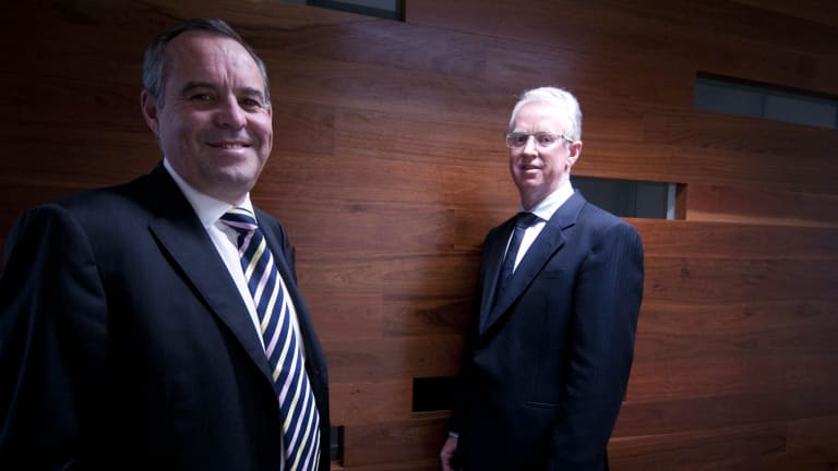 Mark Korda (left) is leading the administration of Network Ten for Korda Mentha. Pictured here with partner Mark Mentha.