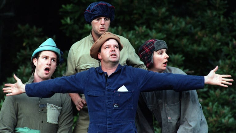 (From left) Will Anderson, Kevin Harrington, Greg Fleet and Corinne Grant in <i>A Midsummer Night's Dream</i>.