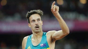 Australia's Luke Mathews reacts after winning his 1500m heat at the World Athletics Championships in London.
