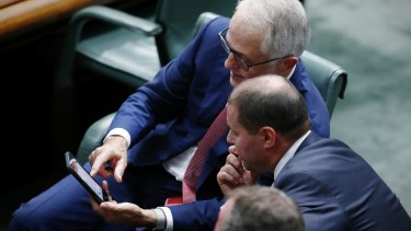 Prime Minister Malcolm Turnbull and Environment and Energy Minister Josh Frydenberg  at Parliament Housein Canberra.