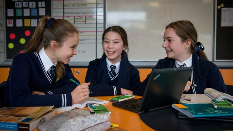 Lauriston Girls School students Isabelle McIndoe, Veasna Gunawan and Zoe Parker-Nentis.