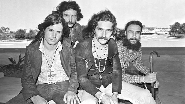 "Black Sabbath arrives in Sydney on 12 January 1973. Left to right John ""Ozzy"" Osbourne, Tony Iommi, Geezer Butler and Bill Ward."