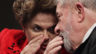 Former Brazilian presidents Dilma Rousseff, left, and Luis Inacio Lula da Silva in July.